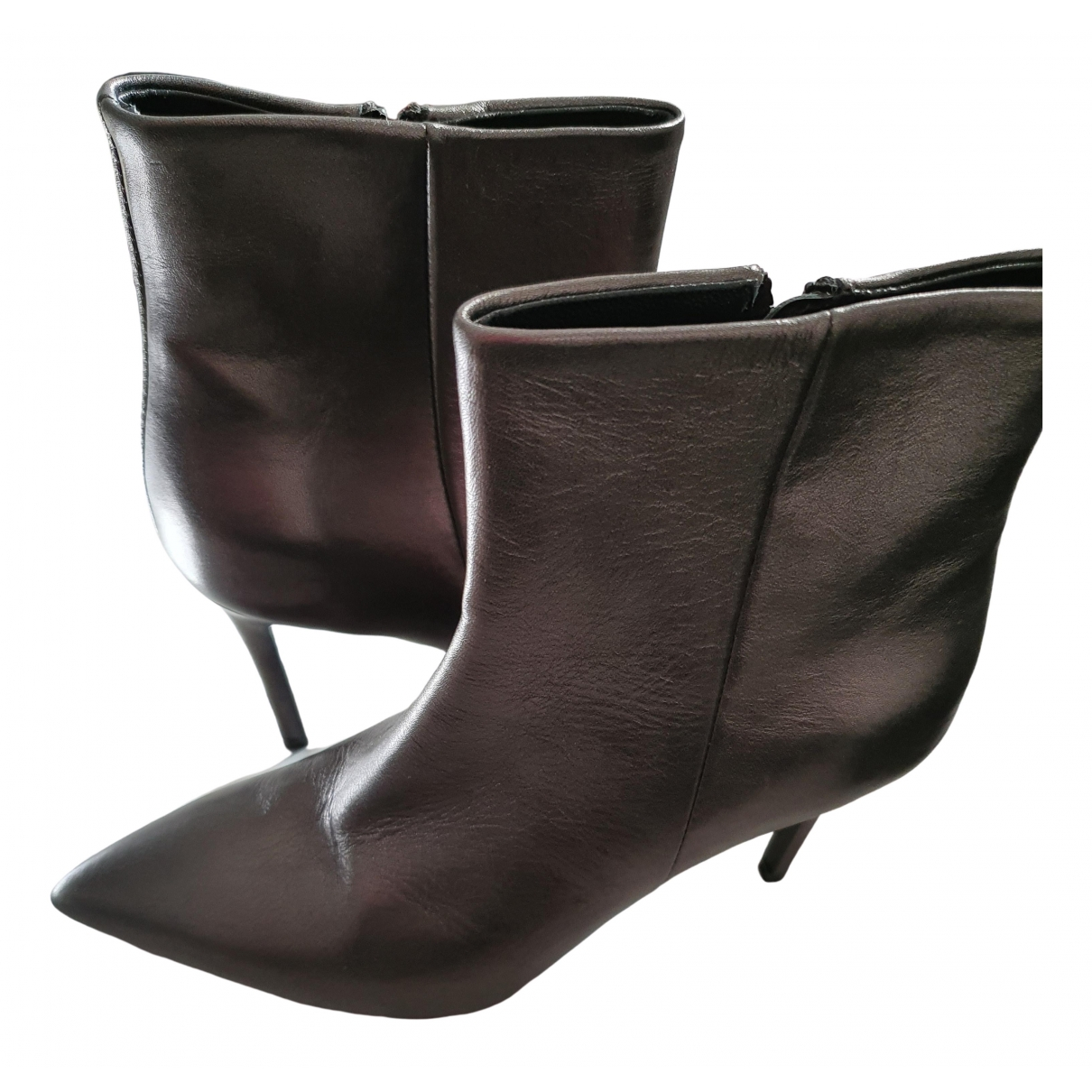 Marc Cain \N Anthracite Leather Ankle boots for Women 37 EU