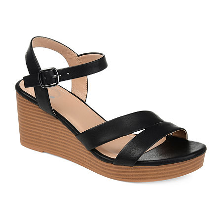 Journee Collection Womens Reegan Pumps Wedge Heel, 8 1/2 Medium, Black