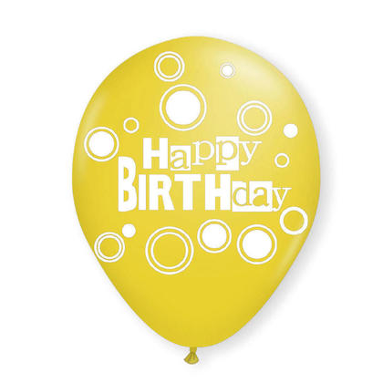 Birthday Balloons Yellow Helium Quality Bold Dots 12