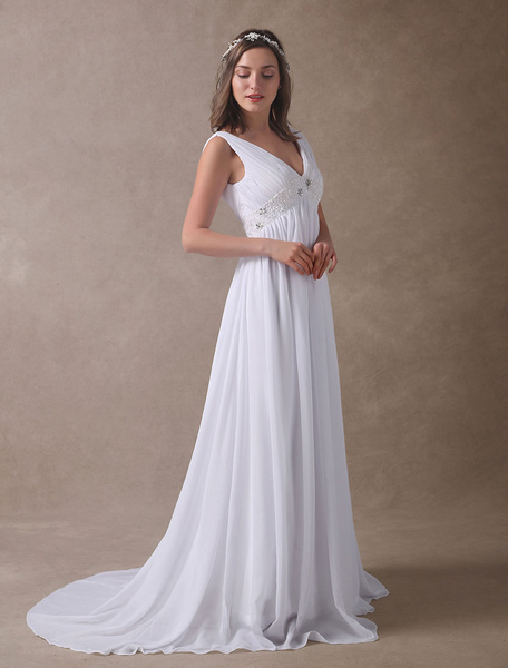 Milanoo Summer Wedding Dresses White Empire Waist V Neck Beaded Chiffon Beach Bridal Gowns