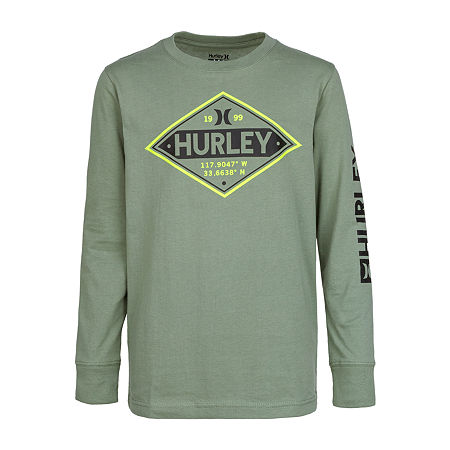 Hurley Big Boys Crew Neck Long Sleeve Graphic T-Shirt, Large (14-16) , Green