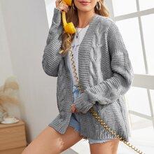 Cable Knit Drop Shoulder Cardigan