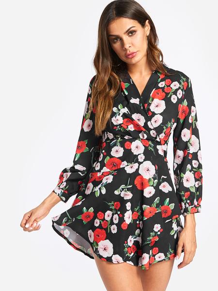 Yoins Black Self-tie Design Random Floral Print V Neck Mini Length Dress
