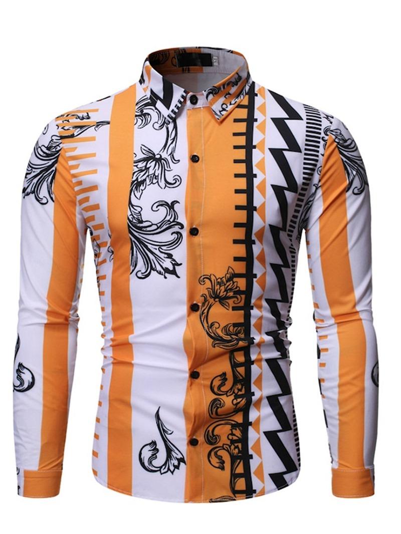 Ericdress Print Color Block Casual Lapel Men's Slim Shirt