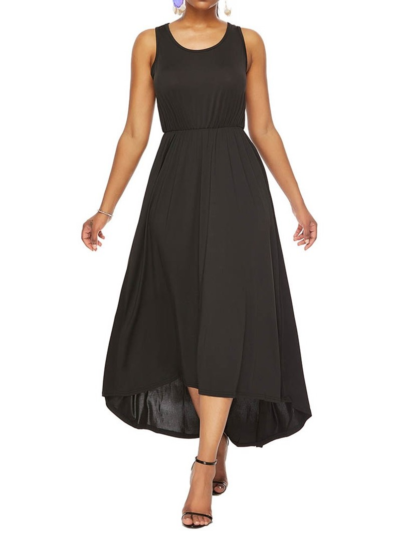 Ericdress Casual Single Ankle-Length Sleeveless Asymmetrical Dress