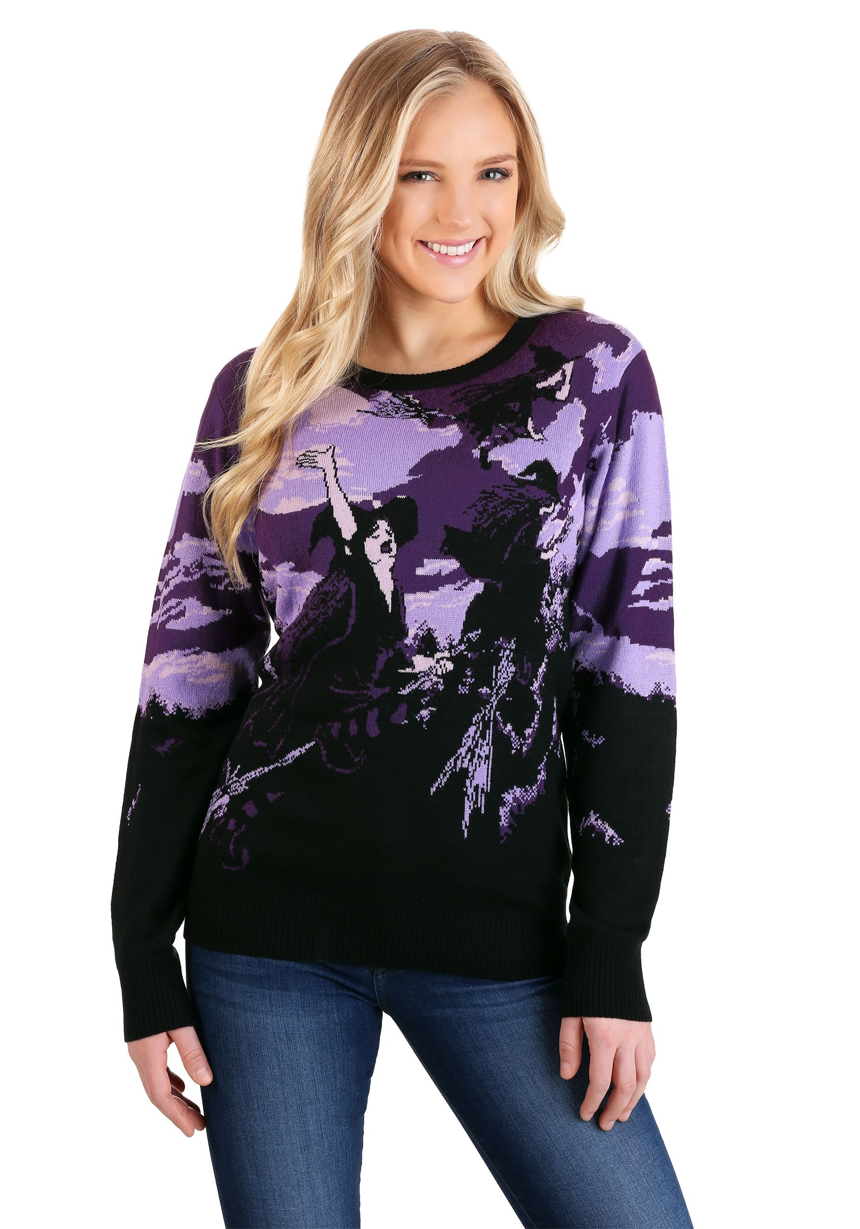 Witch's Moonlight Ride Halloween Sweater for Adults