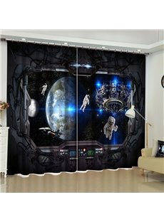 3D Space Exploration Scenery Printed 2 Panels Custom Living Room Curtain