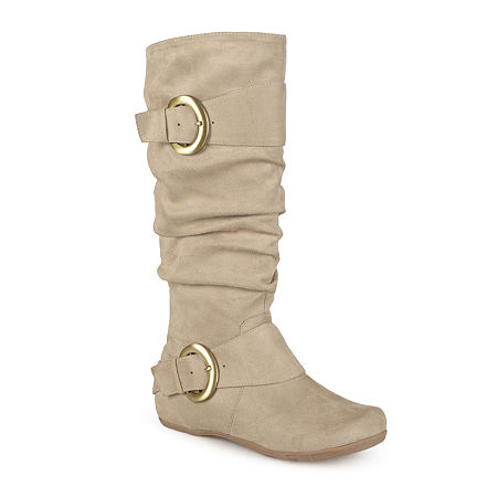 Journee Collection Womens Jester Wide Calf Slouch Boots, 7 1/2 Medium, Beige