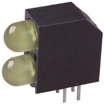 Dialight 552-0933F, Yellow Right Angle PCB LED Indicator, 2 LEDs, Through Hole 1.9 V