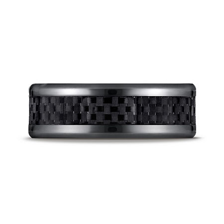 Mens Black Titanium Carbon Fiber Inlay 8mm Wedding Band, 8 1/2 , No Color Family