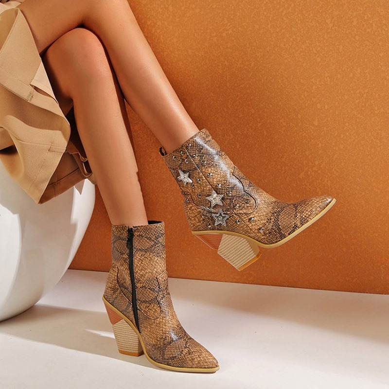 Ericdress Pointed Toe Side Zipper Chunky Heel Zipper Boots
