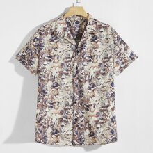 Men Lapel Allover Print Button Up Shirt