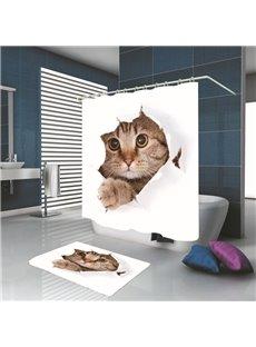 3D Cute Cat Print Polyester Decorative Bathroom Shower Curtain