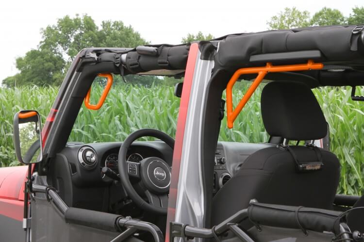 Steinjager J0041249 Grab Handle Kit Wrangler JK 2007-2018 Rigid Design Front and Rear for 4 Door JKU Fluorescent Orange