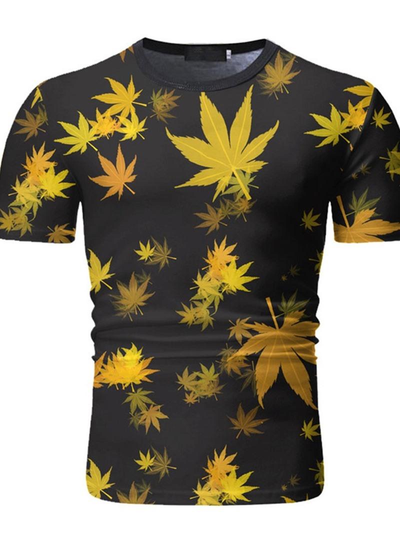 Ericdress Round Neck Print Men's Casua Slim T-shirt