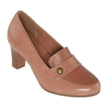Yuu Womens Tessa Round Toe Stacked Heel Pumps, 12 Medium, Pink