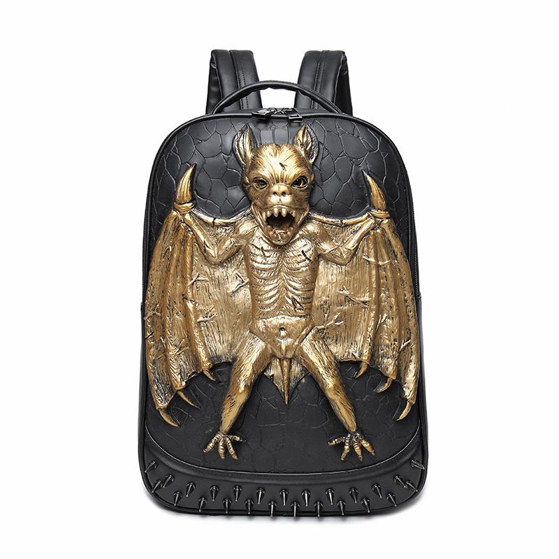 3D Bat Amazing Studded Backpack PU Leather Rucksack Shoulder Bag