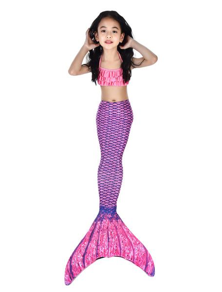 Milanoo Mermaid Costume Kids Lilac Fishtail Swimsuits 2 Piece Set Halloween