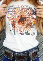 Starburst Cowboy T-Shirt Tee - White
