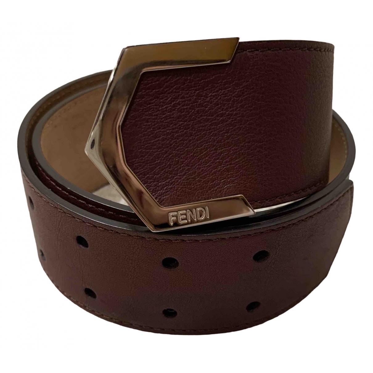 Fendi \N Burgundy Leather belt for Women XXS International