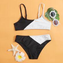 Girls Two Tone Bikini Swimsuit