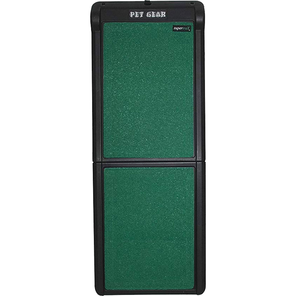 Pet Gear Travel Lite  Bi-Fold Pet Ramp With Supertrax - Black/Green