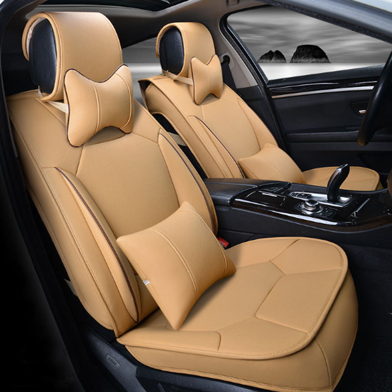 Classic Beige Business Design Solid Design Strong 3D Visual Effect Durable PU Universal Five Car Seat Cover