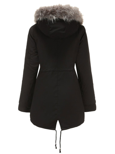 Milanoo Hooded Parka Coats Hunter Green Long Sleeve Drawstring Casual Winter Coat