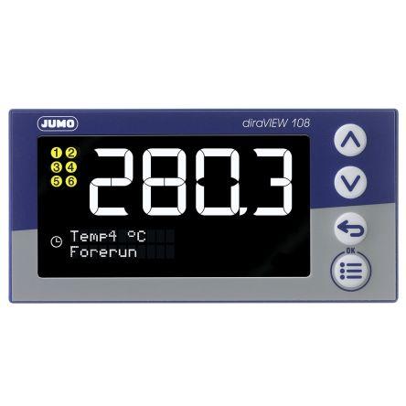 Jumo 00694787 , LCD, Segment Digital Panel Multi-Function Meter for Pressure, Temperature, 96mm x 48mm