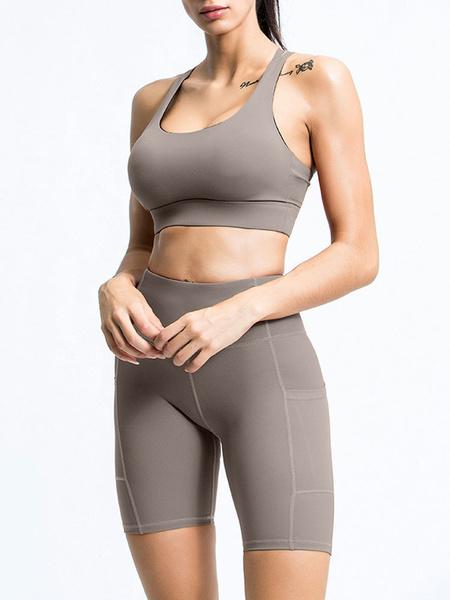 Milanoo Activewear Yoga Clothing Deep Brown Sleeveless Sport Bra With Short Legging