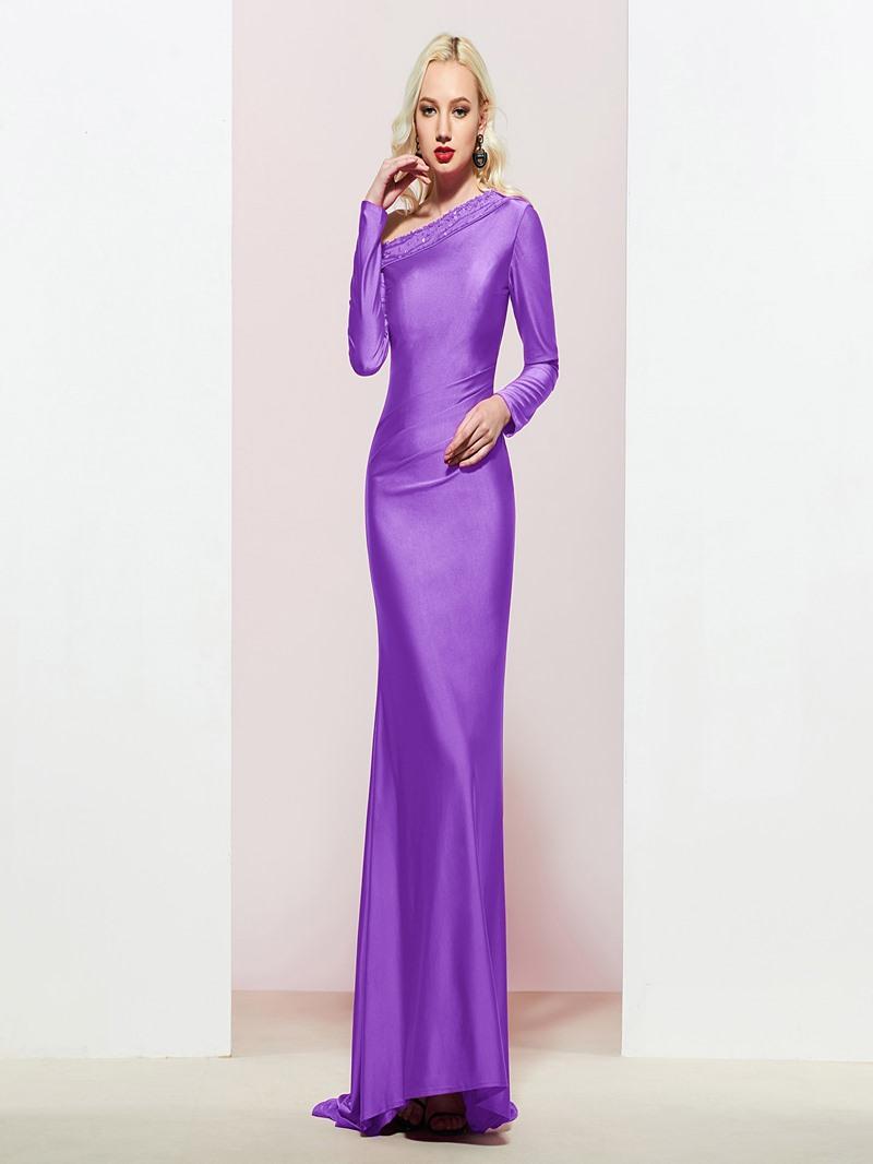 Ericdress Long Sleeves Beaded One Shoulder Mermaid Prom Dress