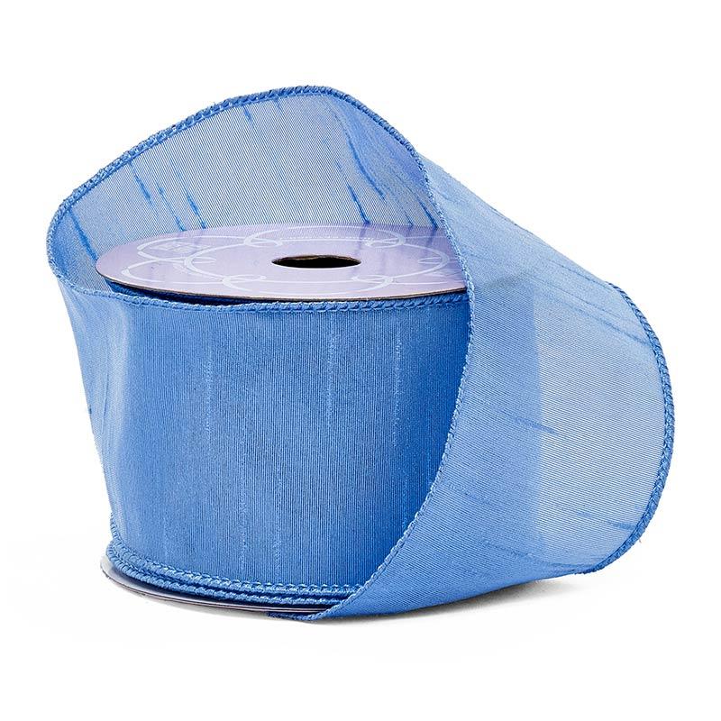 Polyethylene 2 1/2X10 Yards Copenhagen Blue Uli Dupioni Taffeta Ribbon by Ribbons.com