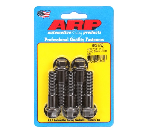 ARP 7/16-14 x 1.750 Hex Black Oxide Bolts (Pack of 5)