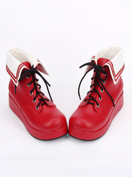 Milanoo Red Lolita Booties Platform Lace Up Lolita Short Boots