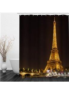 The Illuminated Eiffel Tower 3D Printed Bathroom Waterproof Shower Curtain