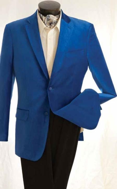 Mens Fashion 2 Button Velvet Jacket Royal Blue