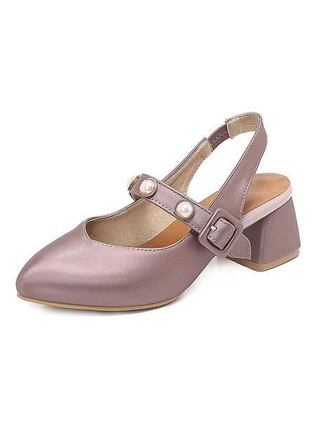 Milanoo Slingbacks Low Heels Block Heel Mary Jane V-cut Pumps With Pearls