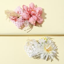 2pcs Girls Flower Decor Hair Pin