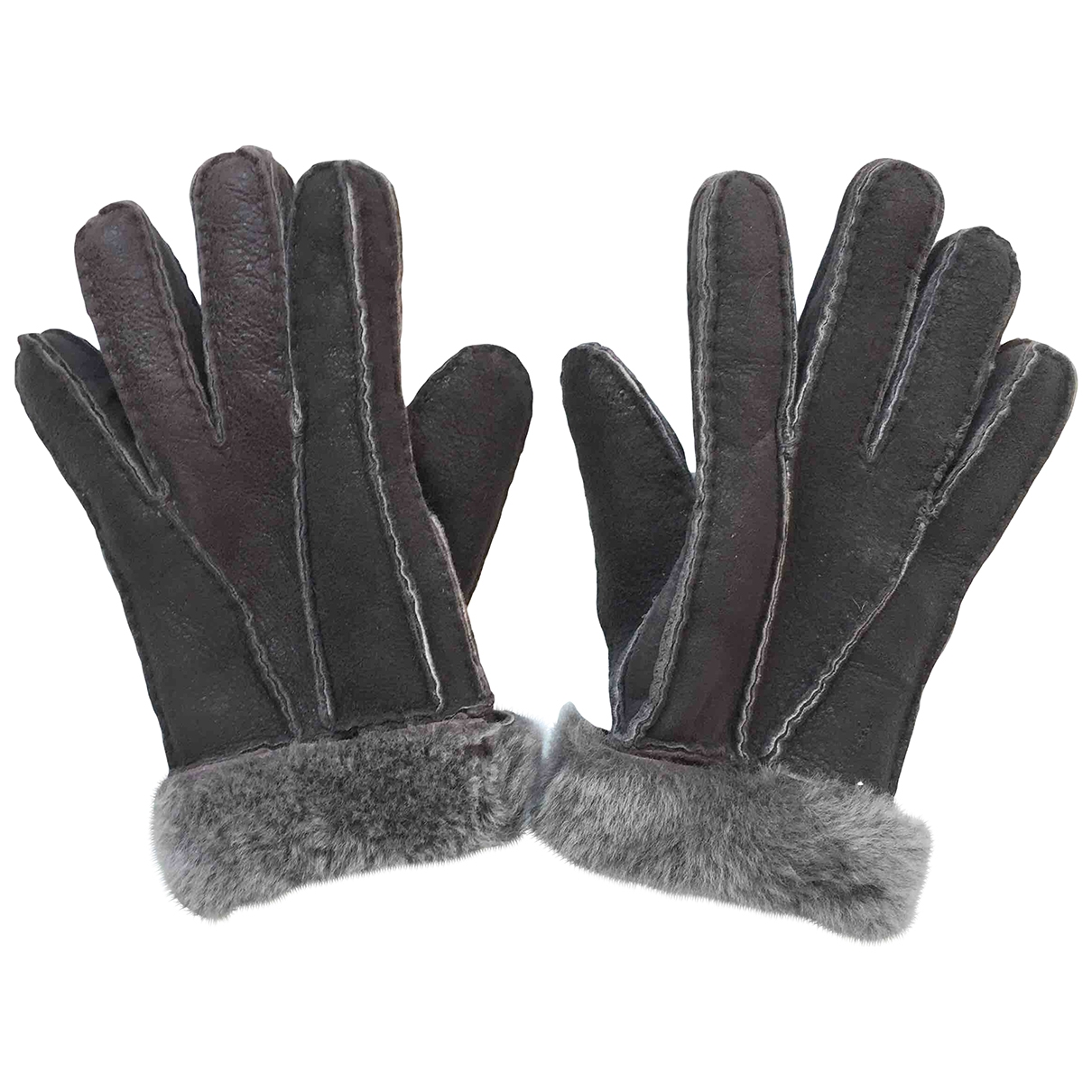 Non Signé / Unsigned \N Grey Leather Gloves for Men M International