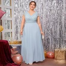 Plus Solid Lace Bodice Surplice Front Dress