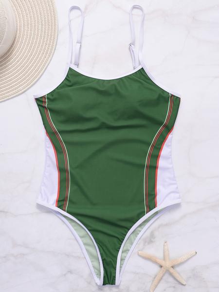 Yoins Green Scoop Neck Stripe Pattern Swimsuit