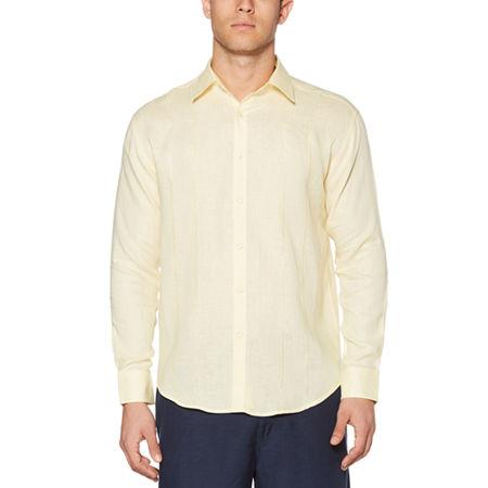Cubavera Mens Long Sleeve Panel Button-Down Shirt, Xx-large , Yellow