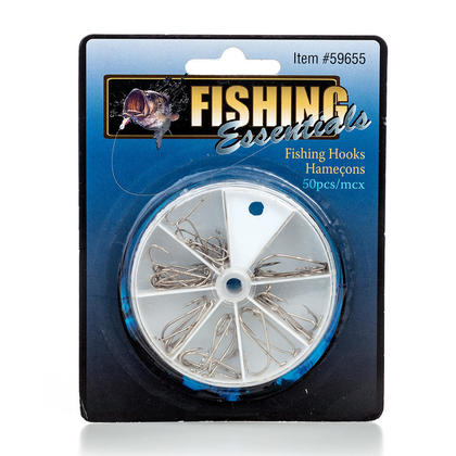 Crochets de pêche en métal forte 50pcs forte pour l'eau douce/eau de mer, 4 tailles assorties