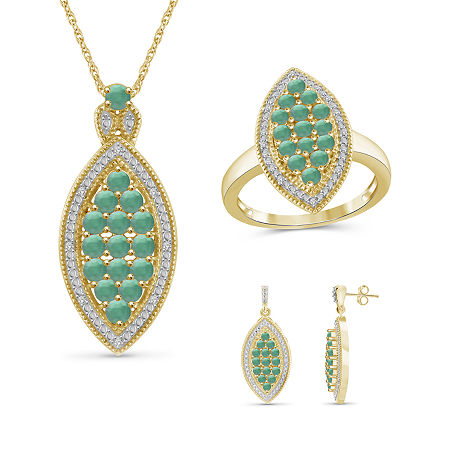1/10 CT. T.W. Genuine Green Emerald 14K Gold Over Silver 3-pc. Jewelry Set, 7 , No Color Family