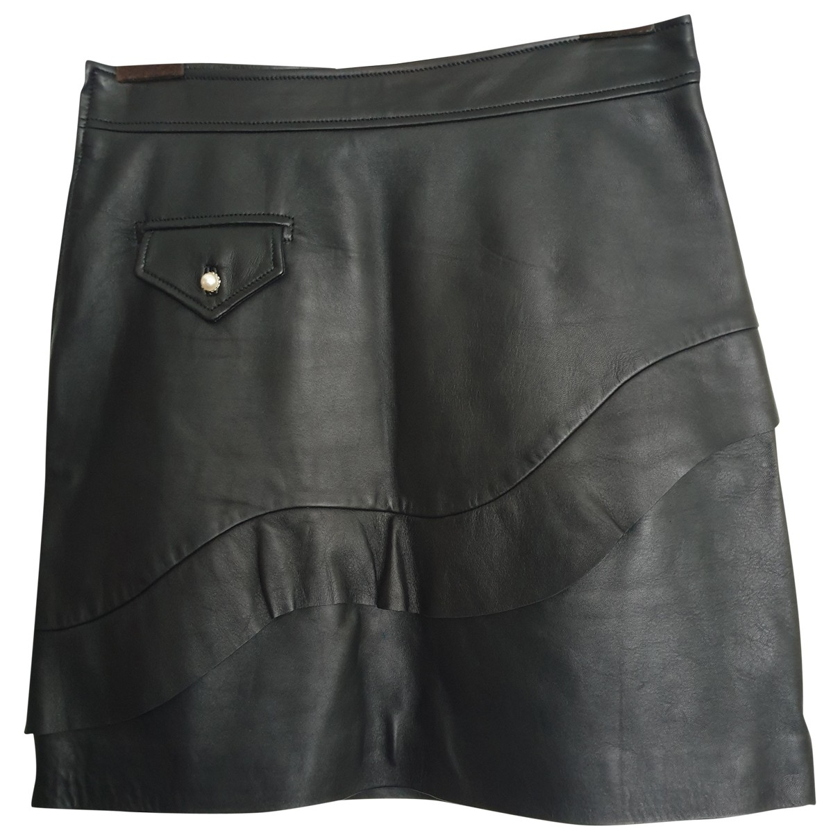 Sandro \N Black Leather skirt for Women 2 0-5