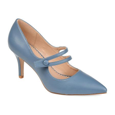 Journee Collection Womens Sidney Pumps Block Heel, 8 1/2 Medium, Blue