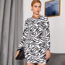 Tiger Striped Bodycon Dress