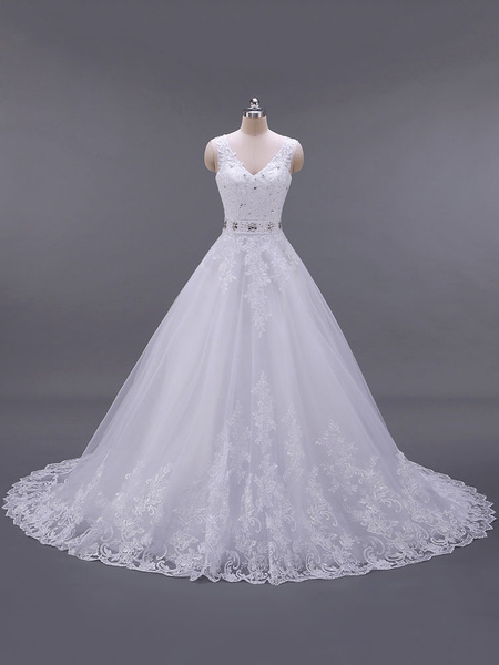 Milanoo Wedding Dresses V Neck Sleeveless A Line Lace Embellishment Beaded Sash Bridal Dresses With Train
