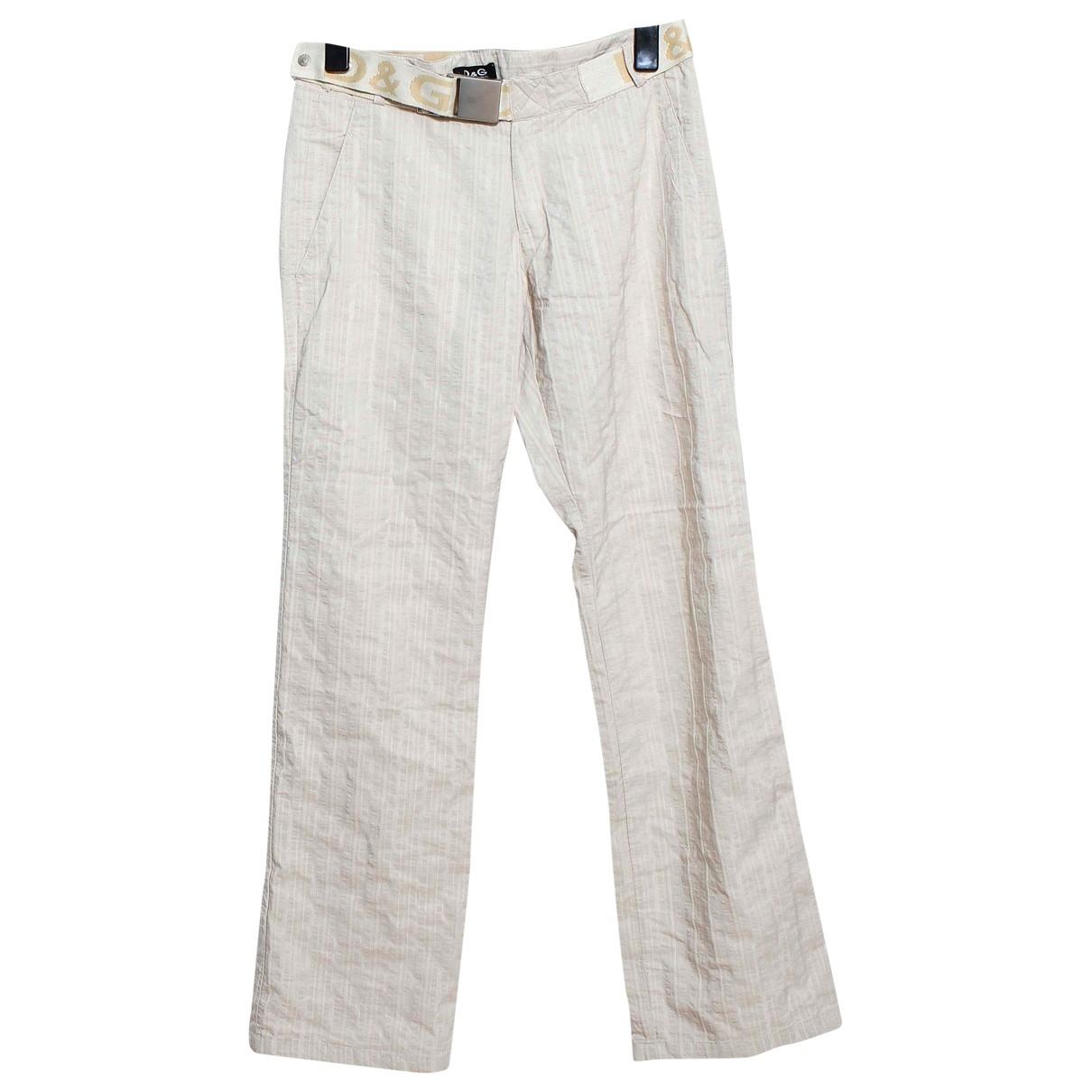 D&g \N Beige Cotton Trousers for Women 44 FR