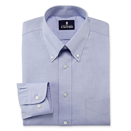 Stafford Mens Wrinkle Free Pinpoint Button Down Collar Oxford Big and Tall Dress Shirt, 16.5 38-39, Blue
